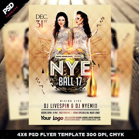 NYE Ball 17 Flyer Template