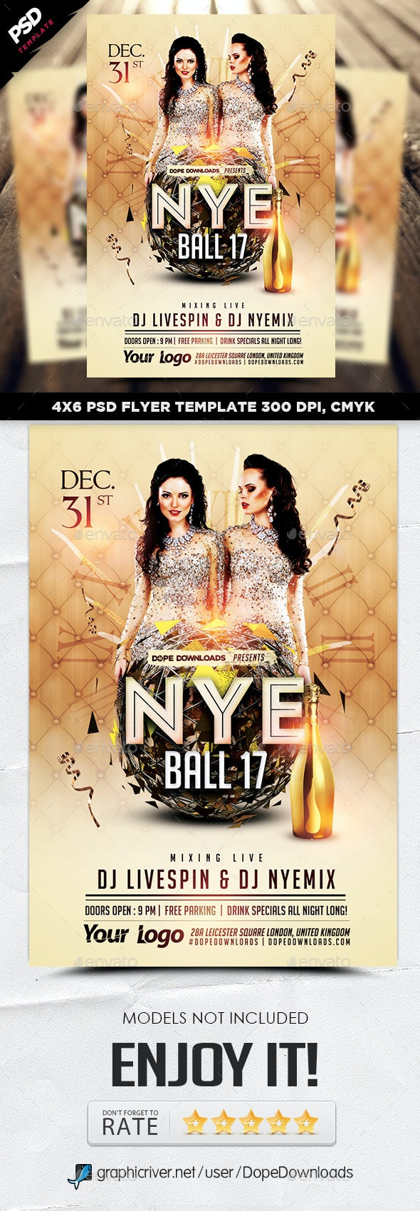 NYE Ball 17 Flyer Template - Holidays Events