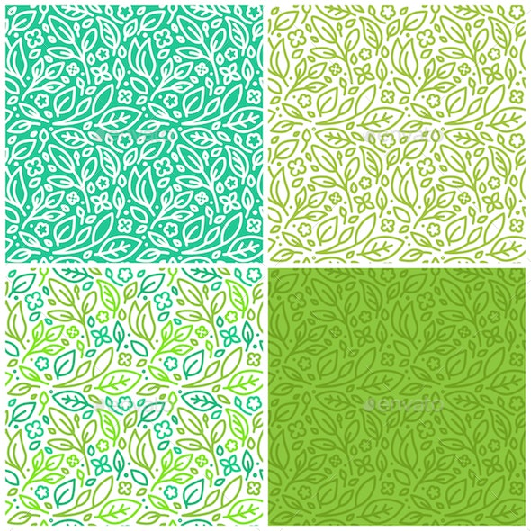 Seamless Patterns with Green Leaves - Patterns Decorative