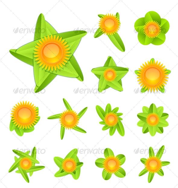 Sun and leaves - Decorative Symbols Decorative