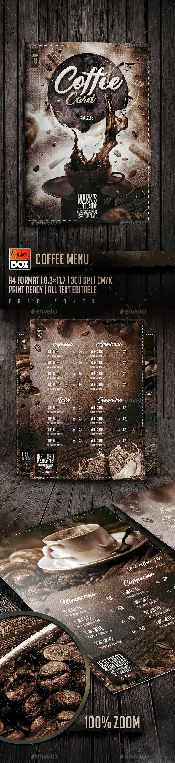 Coffee Menu - Events Flyers