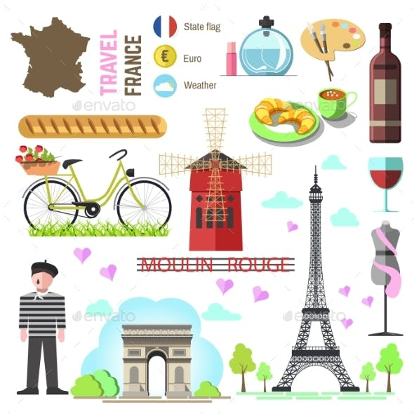 Set Of Paris/french Symbols And Landmarks. France