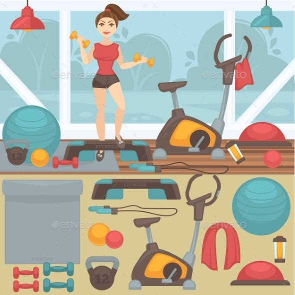 Fitness Equipment And Gym Interior.