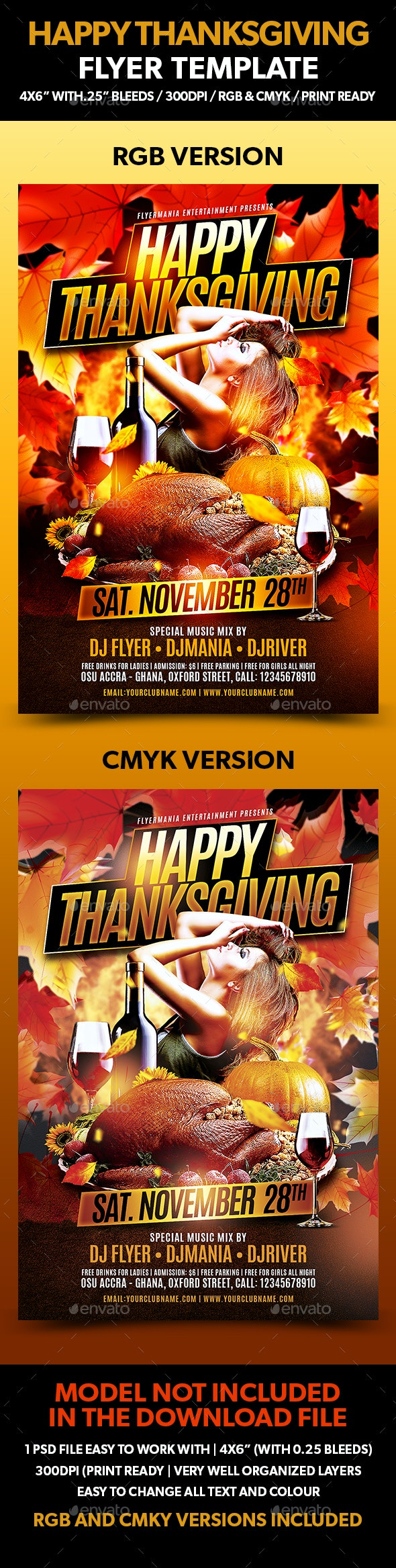 Happy Thanksgiving Flyer Template - Holidays Events