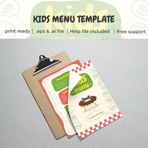 Kids Restaurant Menu Template