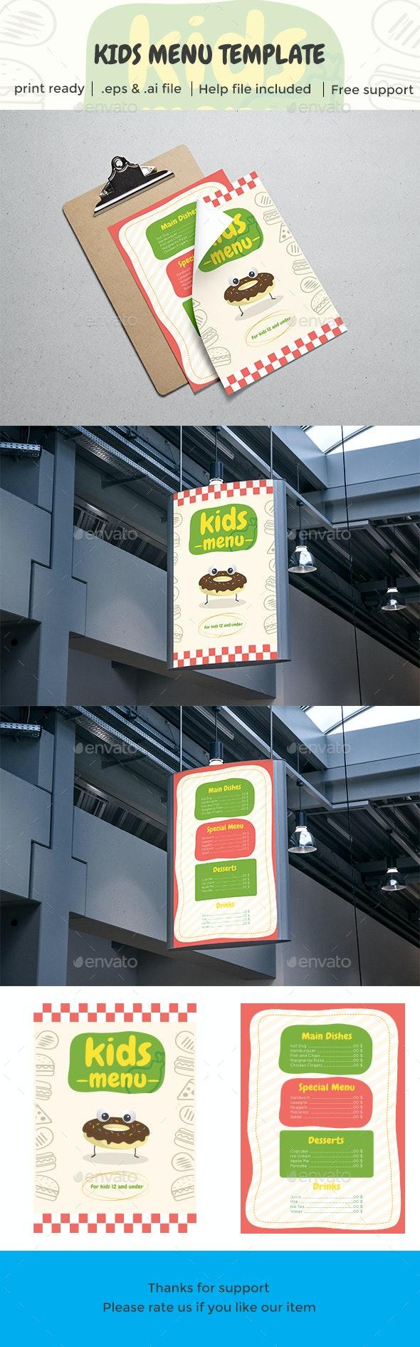 Kids Restaurant Menu Template - Food Menus Print Templates