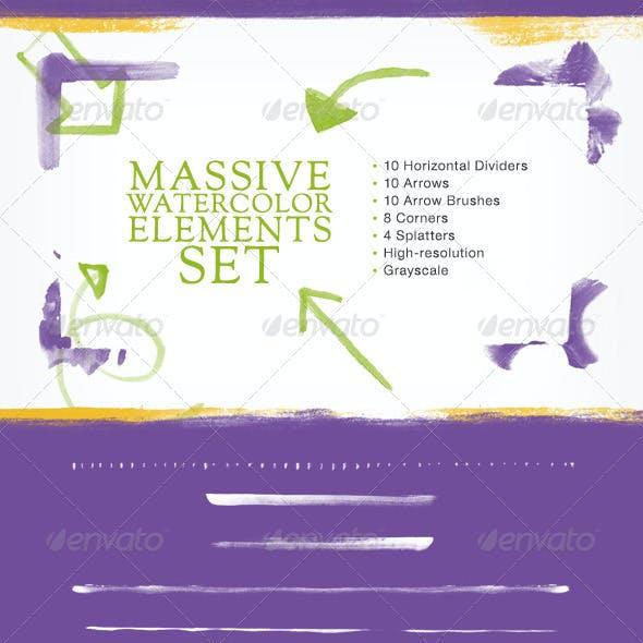Watercolor Web Elements Set