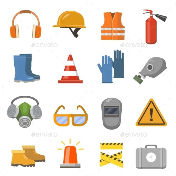 Safety Work Flat Icons Set