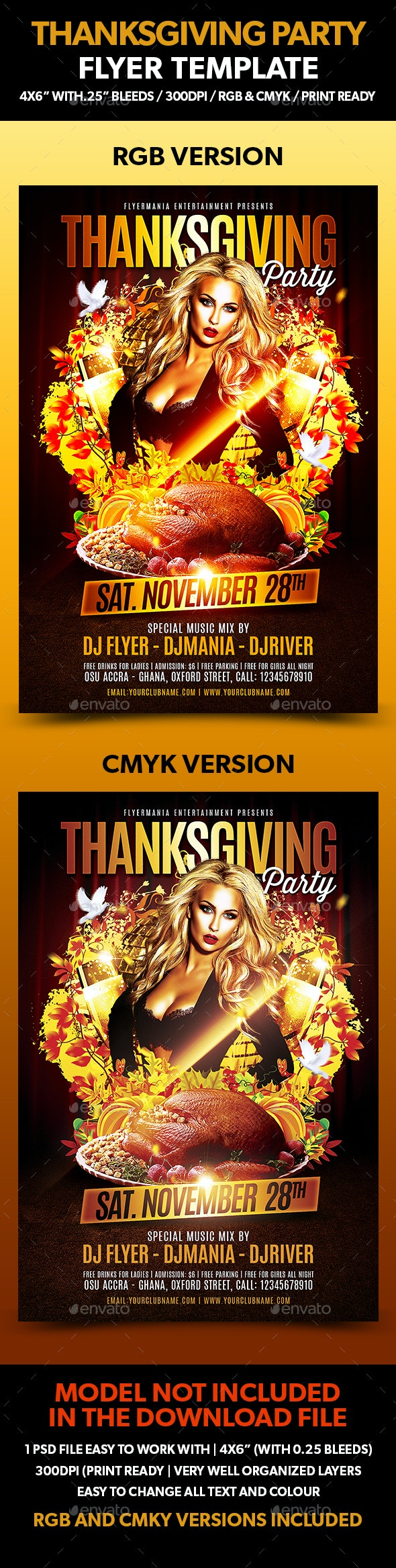 Thanksgiving Party Flyer Template - Clubs & Parties Events