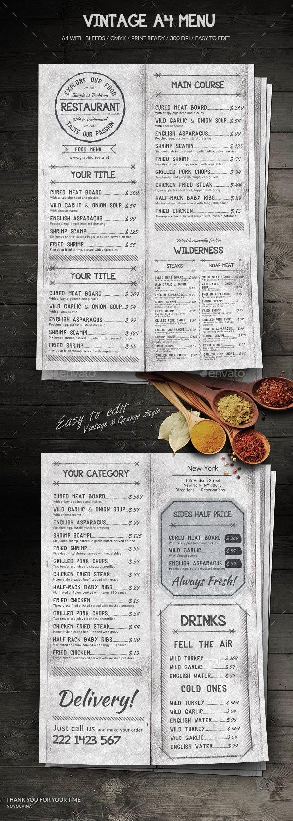 Vintage A4 Menu - Food Menus Print Templates