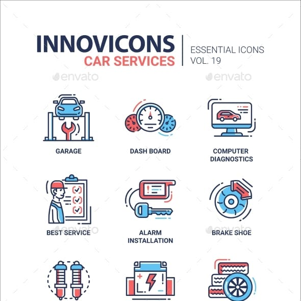 Car Services Modern Thin Line Design Icons