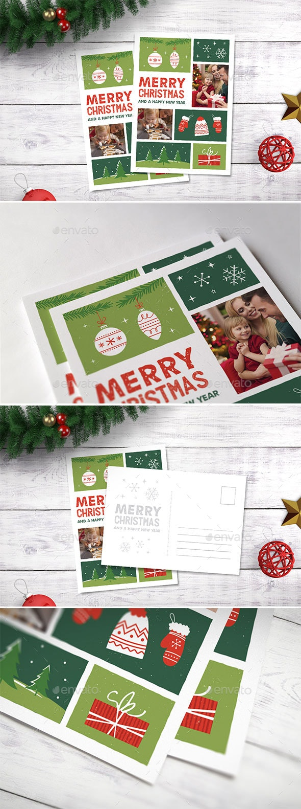 Illustrated Christmas Photocard - Holiday Greeting Cards
