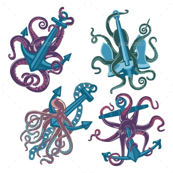 Set of Cartoon Blue Octopus with Anchors