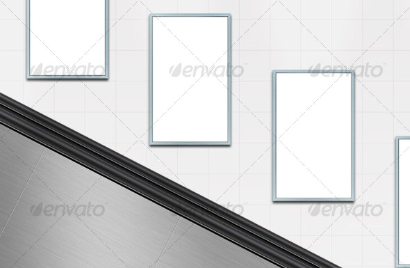 Escalator scene with blank poster templates - Urban Backgrounds