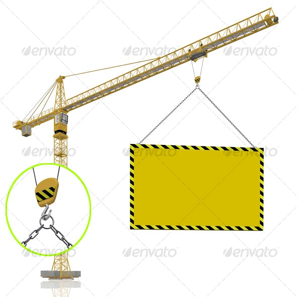 crane with blank banner