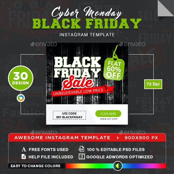 Black Friday & Cyber Monday Instagram Templates - 30 Designs