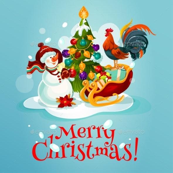 Christmas Tree, Snowman, Gift Greeting Card Design - Christmas Seasons/Holidays