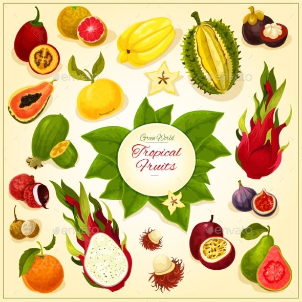 Tropical And Exotic Fruits Vector Icons