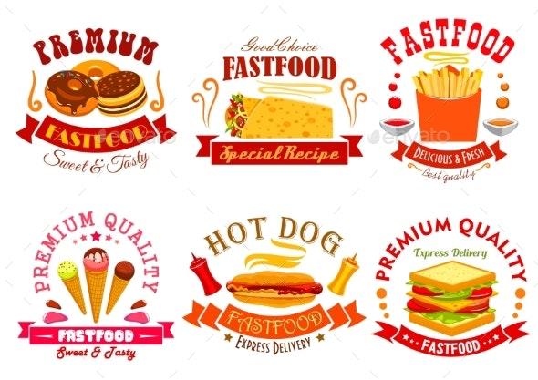 Fast Food Menu Icons, Labels, Emblems Set - Food Objects
