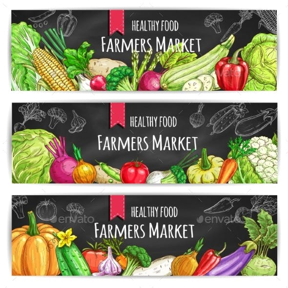 Vegetables. Vegetarian Food Vector Banners