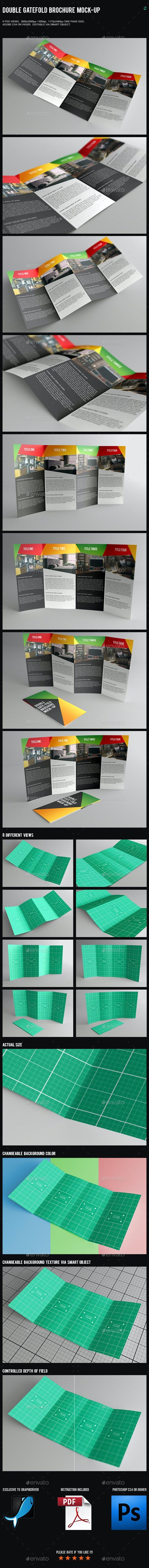 Double Gatefold Brochure Mock-Up - Brochures Print