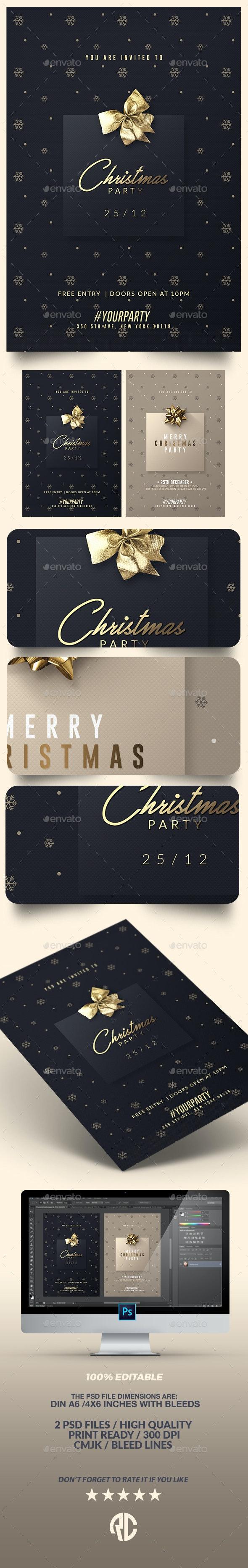 2 Classy Christmas Party   Invitation Templates - Cards & Invites Print Templates