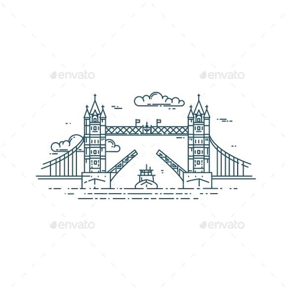 Tower Bridge in London Raised