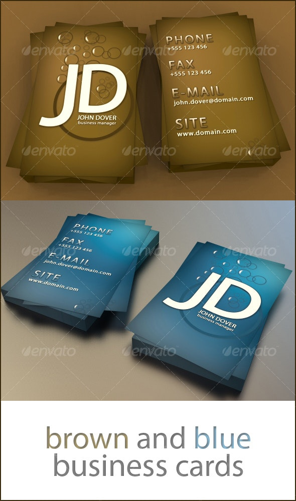 Brown and Blue business card - Creative Business Cards