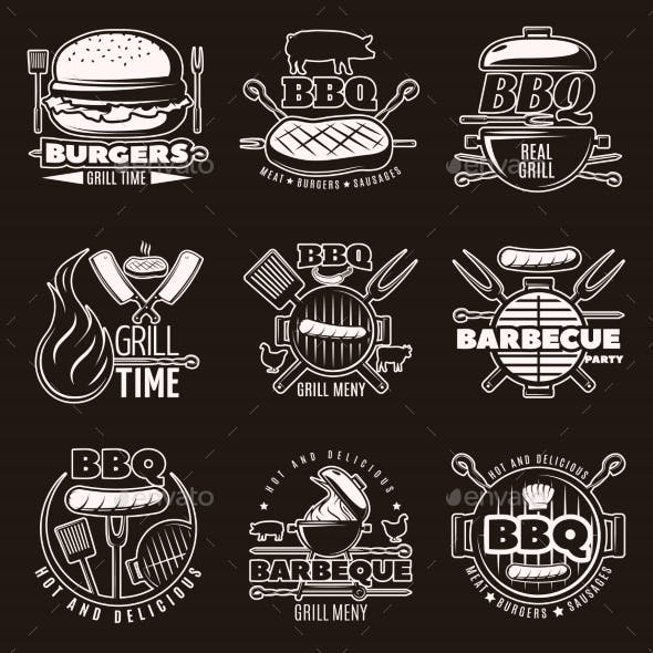 Monochrome Barbecue Emblems Set