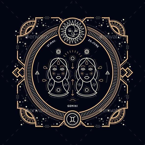 Thin Line Zodiac Gemini Label