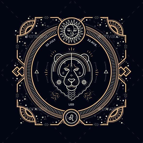 Thin Line Zodiac Leo Label