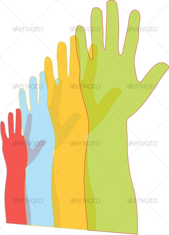 hands in Cascade from Large to Small - People Characters