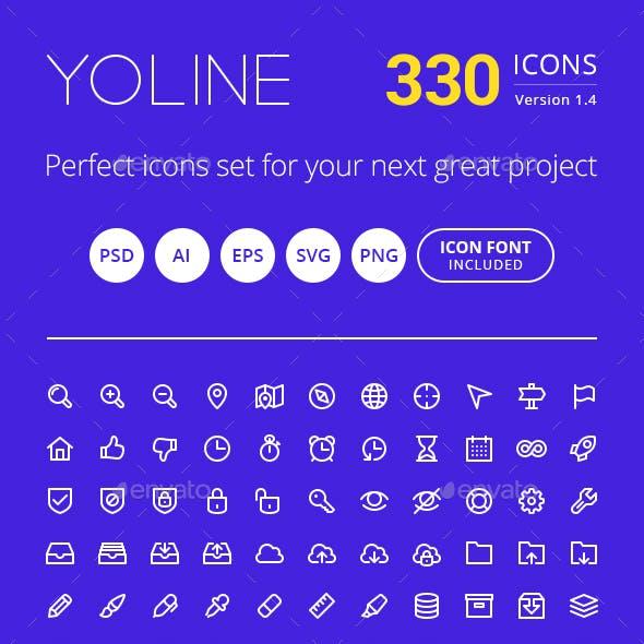 Modern Line Style Icon Set