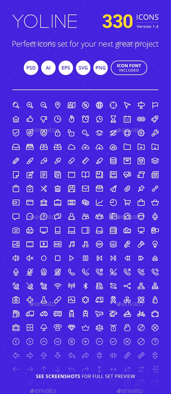Modern Line Style Icon Set - Web Icons