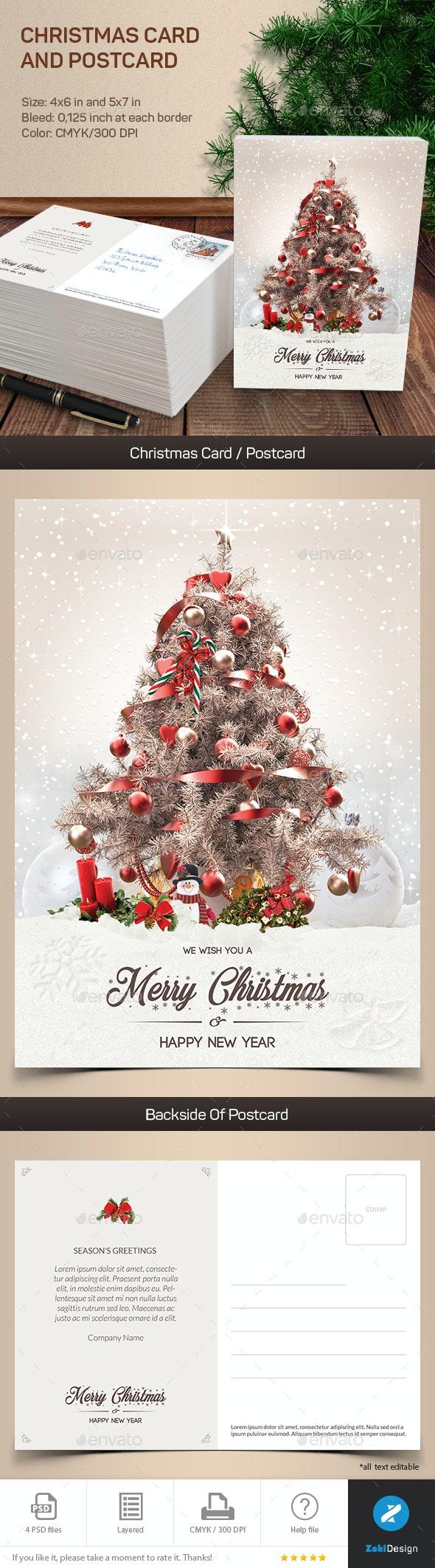 Greeting Christmas Card and Postcard - Holiday Greeting Cards