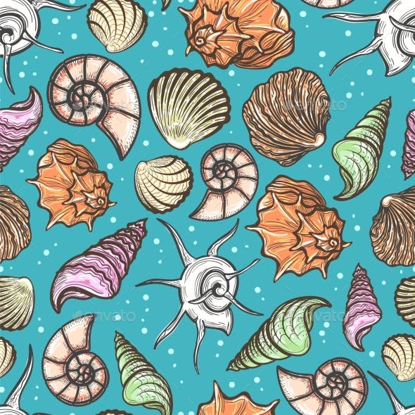 Ocean Seamless Pattern with Colorful Seashells