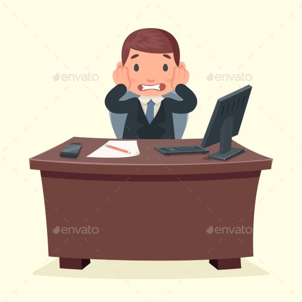Problems Disaster Shock Businessman Character Work