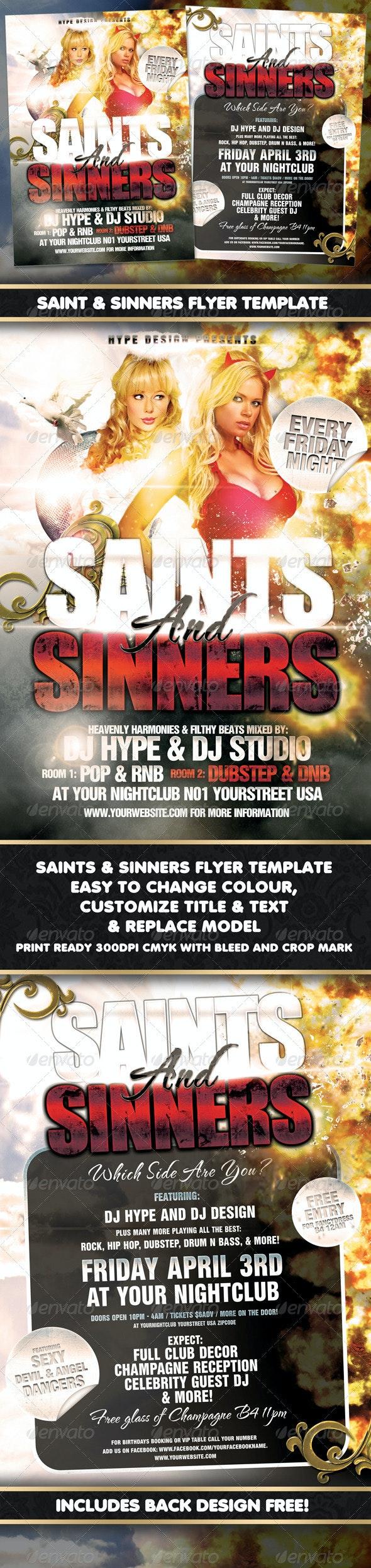 Saints & Sinners Flyer Template - Flyers Print Templates