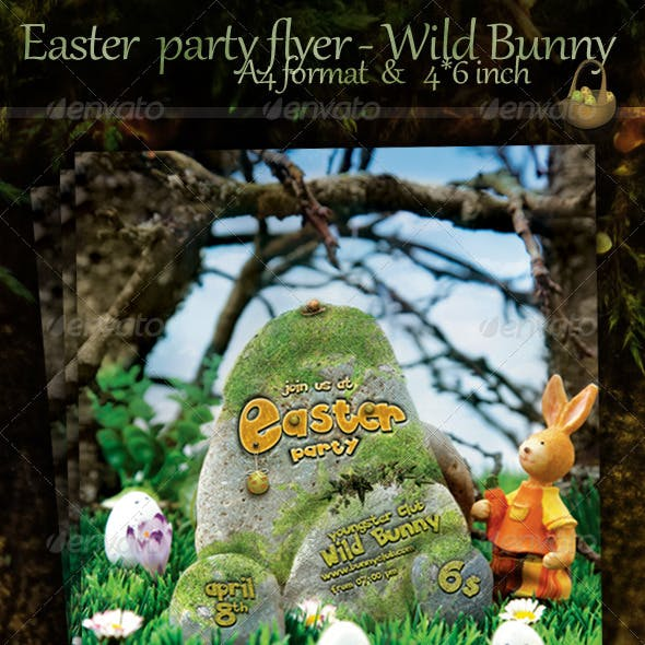 Easter Nature Party Flyer - Wild Bunny Club