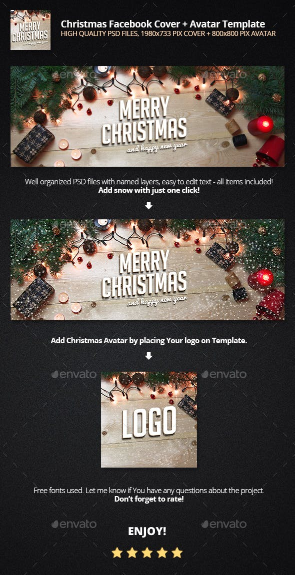 Christmas Facebook Cover Profile Template By Piotr Markowiak