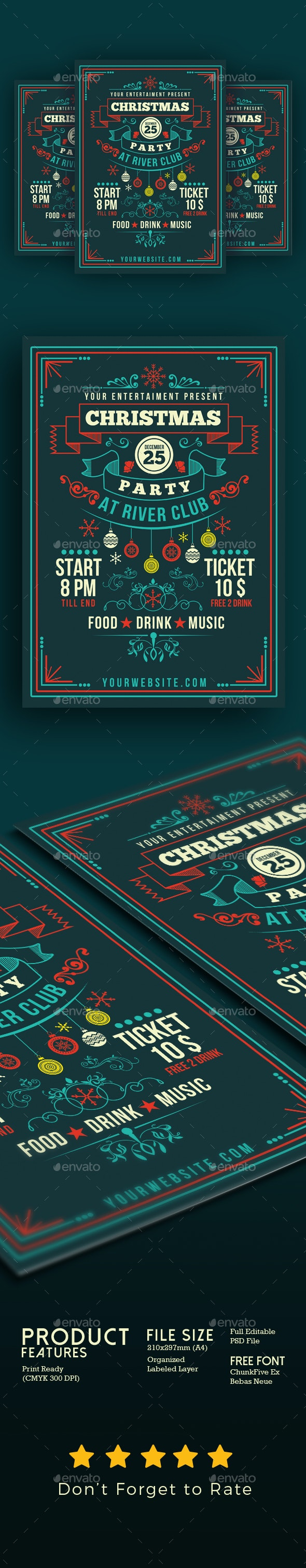 Christmas Party Art Deco Style - Events Flyers