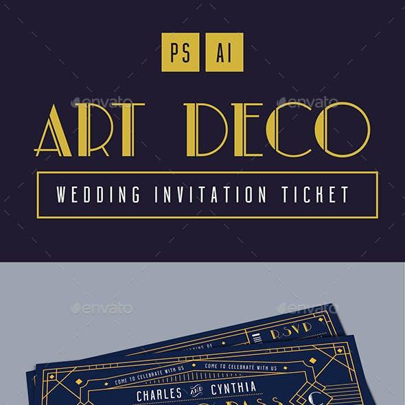 Art Deco Wedding Invitation Ticket Card