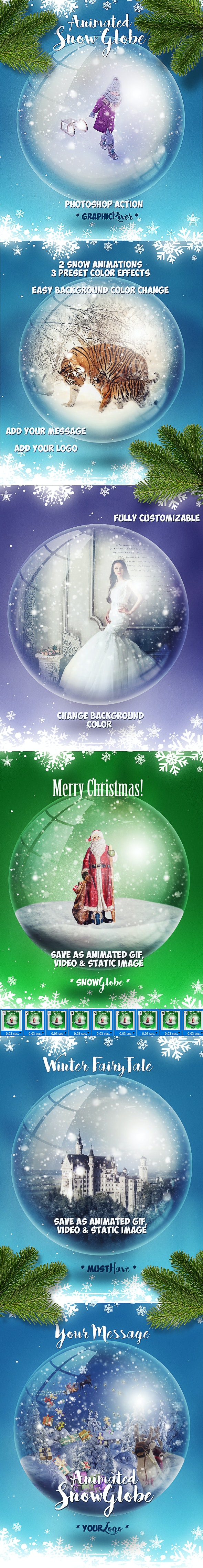 Animated Snow Globe Photoshop Action for Christmas - Photo Effects Actions