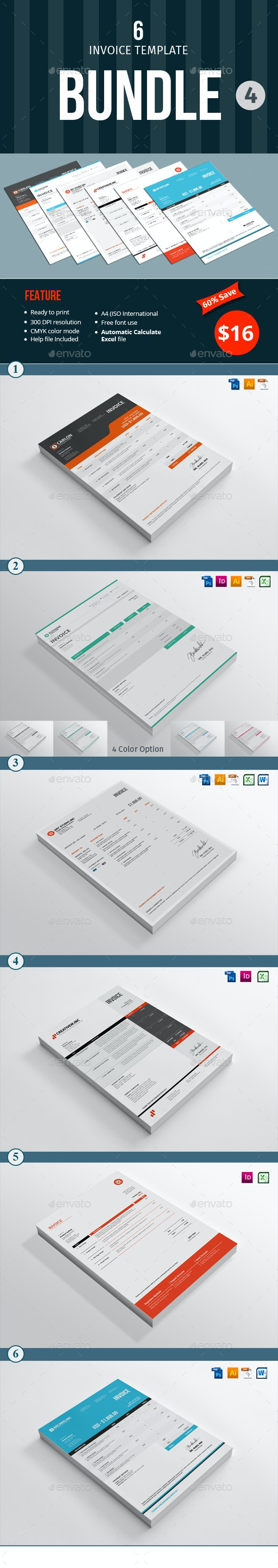 Invoice Template Bundle - 4 - Proposals & Invoices Stationery