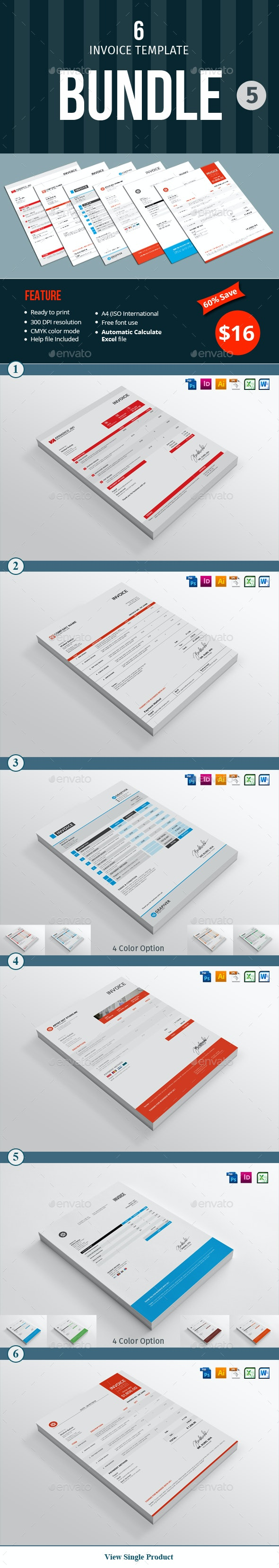 Invoice Template Bundle - 5 - Proposals & Invoices Stationery