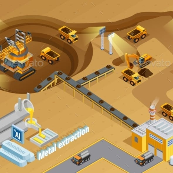 Mining Isometric Illustration