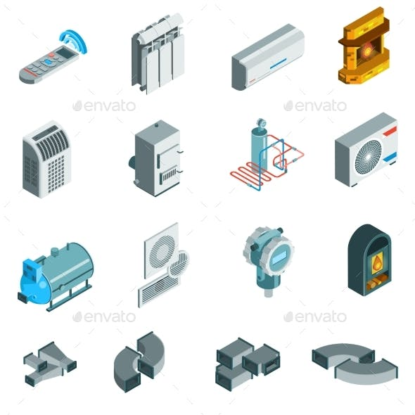 Heating Cooling System Isometric Icons Set