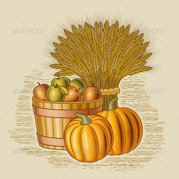 Retro Harvest Still Life - Food Objects