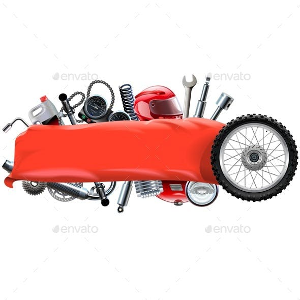Vector Banner with Motorcycle Spares