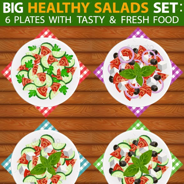Salads Set 6 Types of Fresh Healthy Salads